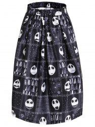 Chic Skulls High Waist A-Line Skirt For Women