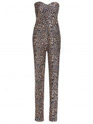 Sexy Strapless Leopard Printed Bodycon Jumpsuit For Women - LEOPARD