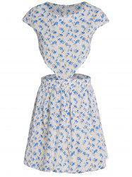 Cute Round Collar Tiny Floral Print Short Sleeve Dress For Women - WHITE M