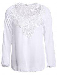 Simple Round Collar See-Through Solid Color Women's Long Sleeve Blouse - WHITE
