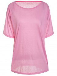 Casual Scoop Neck Solid Color Half Sleeve T-Shirt For Women