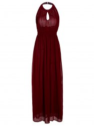 Keyhole Halter Neck Backless Maxi Prom Dress - WINE RED