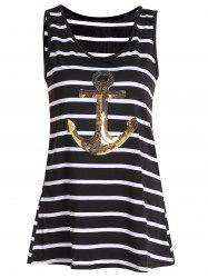 Sequined Anchor Striped Long Tank Top - BLACK