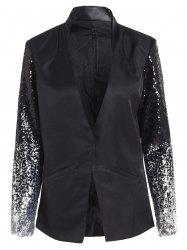 Plunging Neck Sequined Long Blazer - BLACK
