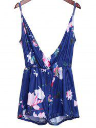 Stylish Plunging Neckline Floral Print Open Back Romper For Women