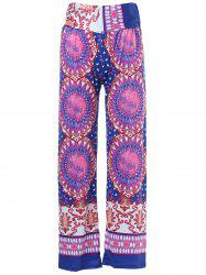 Ethnic Style Mid-Waisted Geometric Pattern Loose-Fitting Exumas Pants For Women - COLORMIX M