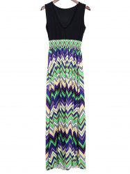 Bohemian Plunging Neckline Zig Zag Sleeveless Dress For Women - GREEN