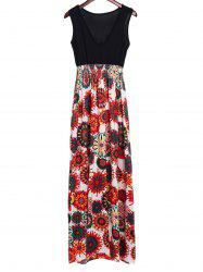 Bohemian Plunging Neckline Print Sleeveless Dress For Women