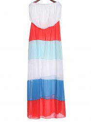 Stylish Sleeveless Color Block Zig Zag Women's Tube Maxi Dress