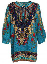 Vintage V-Neck 3/4 Sleeve Full Print Dress For Women