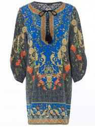 Vintage V-Neck Floral Print 3/4 Sleeve Dress -