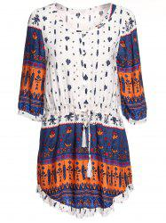 Stylish Scoop Neck Printed Drawstring 3/4 Sleeve Dress For Women