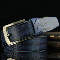 Stylish Hollow Out Hole Embellished Retro PU Wide Belt For Men - BLUE