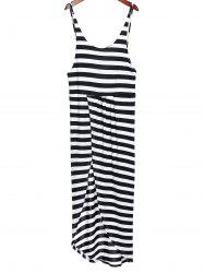 Bohemian Scoop Neck Striped Side Robe fendue Backless pour les femmes - Blanc Et Noir