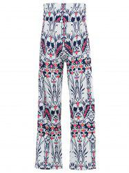 Mid-Waisted Tropical Print Exumas Palazzo Pants - WHITE