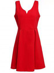 Retro Sleeveless Semi Formal Dress - RED S