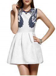Trendy Jacquard Floral Print Mini Flare Dress