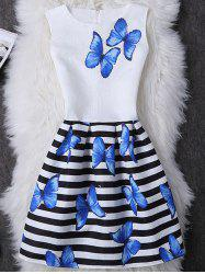 Butterfly Print Striped Mini A Line Dress - WHITE M