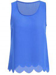 Scallop Hem Chiffon Tank Top - BLUE
