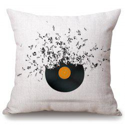 Casual Music Note Disk Pattern Square Shape Pillowcase - OFF-WHITE