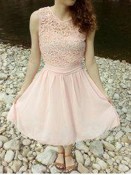 Sleeveless Lace Trim Homecoming Dress