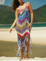 Colorful Boho Zigzag Fringe Racerback Flapper Dress - COLORMIX