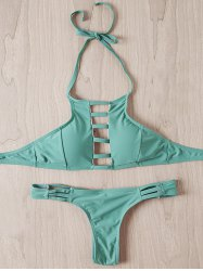 Stylish Halter Strappy Hollow Out Bikini Set For Women