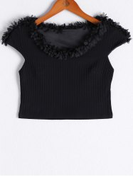 Fashionable V-Neck Short Sleeves Ruffle Crop Top For Women -