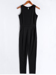Simple Solid Color Scoop Neck Backless Jumpsuit For Women -