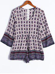 Ethnic Style V-Neck Tribal Print Tie Nine-Minute Sleeves Romper For Women -