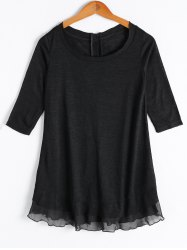 Casual Solid Color Scoop Neck Button Flounce 3/4 Sleeve Blouse For Women -