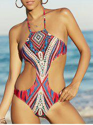 Bohemian Style Halter Printed Cut Out Swimwear For Women - COLORMIX M