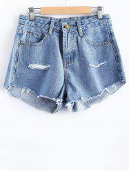 Simple Cut Out Denim Shorts For Women -