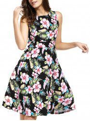 Belted Knee Length Floral Flare Summer Dress - BLACK XL