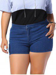Plus Size Zipper Fly Fitted Denim Shorts -