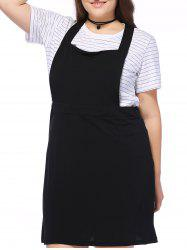 Plus Size Square Neck Cord Pinafore Dress