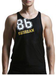 Round Neck Mesh Design Quick-Dry Letter Print Tank Top For Men - BLACK