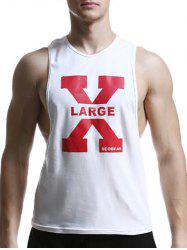 Round Neck X Letter Print Graphic Tank Top -