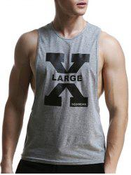Round Neck X Letter Print Graphic Tank Top - GRAY XL