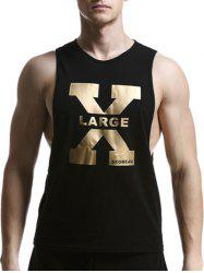 Round Neck X Letter Print Cotton Blends Tank Top For Men