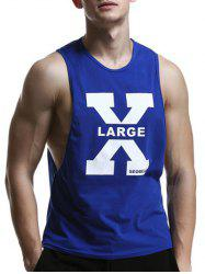 Round Neck X Letter Print Cotton Blends Tank Top For Men - SAPPHIRE BLUE