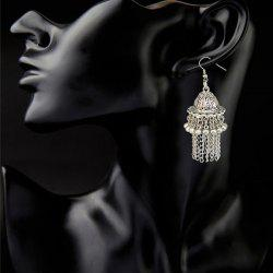 Pair of Ethnic Style Filigree Hat Bell Fringed Earrings -