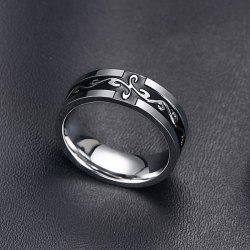 Punk Style Black Enamel Cross Silver Plated Ring For Men -