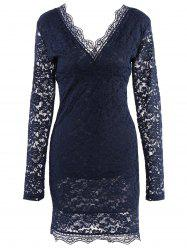 Plunging Neck Long Sleeve Solid Color Women's Navy Blue Lace Midi Dress -