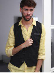 V-Neck Single Breasted Edging Solid Color Sleeveless Waistcoat For Men