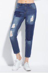Color Block Ripped Ankle Jeans -