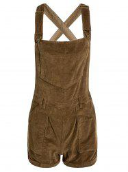 Stylish Corduroy Solid Color Pockets Women's Overalls -