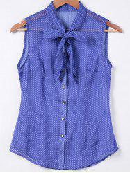 Bow Tie Collar Polka Dot Print Sleeveless Shirt