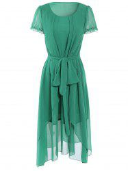 Asymmetrical Overlay Chiffon Dress