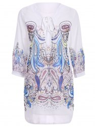 Stylish 3/4 Sleeve V-Neck Lace-Up Printed Women's Dress - WHITE